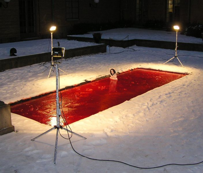 """Dror Feiler """"Snow White and the Madness of Truth"""" / electricity   (In 2004, the Israeli ambassador to Sweden, Zvi Mazel, tried to destroy the artwork by unplugging lights and throwing one of them into a pool causing a short circuit.   Mazel claimed the work - a long pool of dyed water, upon which floated a small white boat carrying a portrait of a female Palestinian suicide bomber - was antisemitic. Upon entering the gallery space of Stockholm's Museum of National Antiquities, he disconnected the electricity powering the installation and tipped one of its lights into the water. Mazel had to be escorted out by museum security; the work was able to be restored.   A week later, Thomas Nordanstad, who curated the exhibition in which this work was shown, was attacked by an unidentified man who pushed him down a staircase. It was later revealed that Nordanstad had also received over 400 e-mails containing various threats. The attacker was not found.)"""