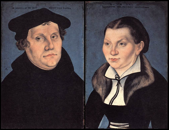 """Lucas Cranach the Elder """"Martin Luther and his wife Katharina von Bora"""" (diptych) / acid   (On 16 August 1977, these works were attacked by  Hans Joachim Bohlmann , who poured sulfuric acid on them while they were displayed at the Lower Saxony State Museum in Hanover, Germany.)"""