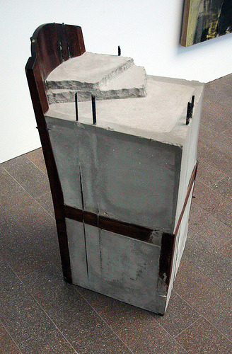 Doris Salcedo (various works) / US Customs   (In 1995, four sculptures by Columbian artist Doris Salcedo were destroyed by U.S. Custom Service officials at NYC's JFK airport. Pieces of the sculptures - which consisted of furniture molded in concrete - were hammered off as the custom officers searched, unsuccessfully, for narcotics. The sculptures were en route to Pittsburgh's Carnegie Museum, which filed a claim for the damages with the federal agency.)