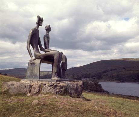 """Henry Moore """"King and Queen"""" / saw   (In 1995, vandals sawed off the heads of these open-air bronze sculptures, installed on a hillside in Dumfries, Scotland. Though the perpetrators were not caught, the decapitated heads were able to be reattached.)"""