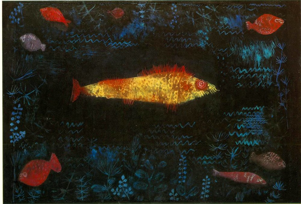 "Paul Klee ""Golden Fish"" / acid   (In 1977, a man threw acid at this work while it was on view at Germany's Hamburg Kunsthalle museum. Though damaged, the work was able to be restored.   This was the first of many acts of vandalism made by  Hans Joachim Bohlmann , who damaged over 50 different artworks between 1977 and 2006.)"