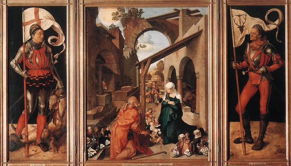"""Albrecht Durer """"Mary as Grieving Mother,"""" """"Mourning of Christ,"""" and """"The Paumgartner Altar"""" / sulfuric acid   (In 1988, a 51-year-old homeless man walked into the Alte Pinakothek Museum in Munich and sprayed these works with sulfuric acid contained in a champagne bottle. He wasn't caught until a group of school children came into the gallery and one of the students cried out for him to stop. He did, setting down the bottle and then finding a guard to explain what happened.   The man later said he'd attacked the painting """"out of revenge,"""" because of deductions that had been made from his pension to pay for similar attacks he had made on paintings in Düsseldorf and Hamburg. The man also described himself as """"psychologically disturbed."""")"""