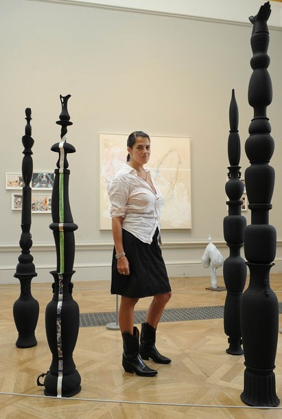 """ceramic totem by Tatiana Echeverri Fernandez / human body   (In 2008, a series of 5 ceramic totems, collectively entitled """"Frauleins Christina, Panthea, Zenobia, Semiramis and Guinevere,"""" were on view at London's Royal Academy when a museum visitor lost her balance and fell into them. One of the totems was irreparably damaged in the incident.   As one witness described the scene: """"It was an enormous crash, like pottery smashing. Everyone was just standing around not knowing what to do at all, and one woman in a white top, who I assumed had knocked it over, was standing with her hand on her head.   """"After a while a person who was in charge of the room ran off to get help and someone came in with a dustpan and brush to clean it up. Before that people were still coming in to the room and thought it was part of the exhibition. They were taking pictures. I think they thought it was meant to be like that. It was quite funny."""")"""