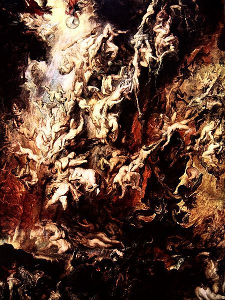 "Peter Paul Rubens ""The Fall of the Damned"" / acid   (In 1959, a man threw an acid on the painting while it was on view at Munich's Alte Pinakothek. The painting, which dated back to circa 1620, was destroyed.)"