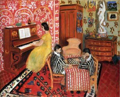 "Henri Matisse ""Pianist and Checker Players,"" ""Zorah Standing,"" and ""The Japanese Woman""/ pencil   (In 1998, three Matisse paintings were vandalized while on view at Rome's Capitoline Museum. The damage, which included pencil markings and small puncture holes onto each canvas, occurred while a number of school groups were visiting the museum. The culprit was never identified, but the works were able to be restored.)"