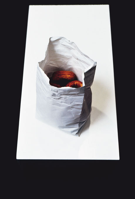 "Robert Gober ""Bag of Doughnuts"" / accidentally eaten   (In 1989, a critic/curator named Ed Brzezinski accidentally devoured a Gober sculpture on display at Cooper Gallery in New York.   ""Look, it was an honest mistake,"" Brzezinski said. ""I was hungry. I'd been drinking and I hadn't eaten anything all day. I noticed this bag of doughnuts sitting on a pedestal. Plain doughnuts with no sugar. I figured somebody had brought them and then gotten tired of them. So I grabbed one and bit it. It tasted stale.""   Gallery attendants immediately noticed Brzezinski's act and ejected him from the space. By this time, however, Brzezinski discovered that Gober had coated his doughnuts with Roplex, a preservative chemical. ""I threw up. An ambulance took me to the St. Vincent's Hospital. They said that if the chemical was dry, it goes right out of your system. If it'd been liquid, it would have killed me.""   ""What is upsetting me is how the art community is now acting like I was a saboteur,"" he concluded. ""This won't be good for my career."")"
