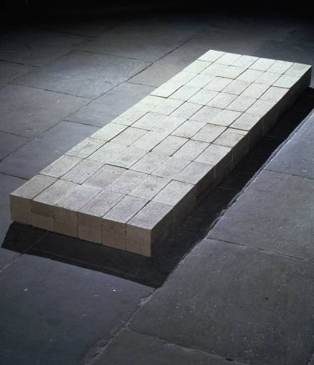"Carl Andre, ""Equivalent VIII"" / vegetable dye   (In 1976, a visitor to London's Tate Museum threw blue vegetable dye onto Andre's work. The liquid was easily washed off and no damage was done.)"
