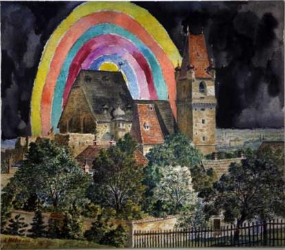 """Adolf Hitler, various untitled watercolors / paint   (In  2008, English artists Jake and Dinos Chapman   acquired a group of original watercolors painted by Adolf Hitler. The brothers painted bright psychedelic skies and smiley faces onto the works, ultimately presenting them   in an exhibition titled """"If Hitler had been a hippy, how happy would we be"""".)"""