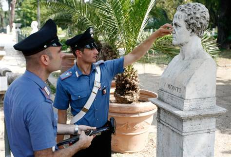"(Over the course of ten months in 1985, a demented biology professor broke the noses off of eighty stone statues installed in Rome's Villa Borghese Gardens, including notable works by the sculptor Gian Lorenzo Bernini. Upon his arrest, police discovered that the man was carrying all of the noses with him in a plastic bag. When asked why he had attacked the statues, he claimed, ""The KGB are after me."" He then gave the police a slip of paper on which he'd written, ""I am a UFO."")"