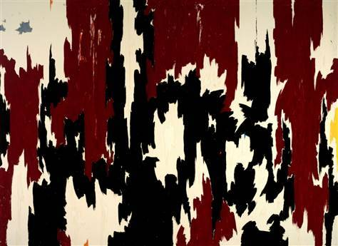 """Clyfford Still """"1957-J no.2"""" / drunken fists, ass   (In January 2012, a woman named Carmen Tisch punched, scratched, and rubbed her bare ass against the painting. The damage was said to be minimal.)"""