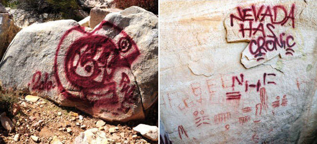 "rock art / spray paint   (In 2011, a teenager known as ""Pee Wee"" was arrested and charged with tagging a series of rock art panels in the Red Rock Canyon National Conservation Area in Nevada. The panels dated back to 1000 AD and included both pictographs (paintings and drawings on rock) and petroglyphs (drawings scraped and ground onto the surface of the rock).)"