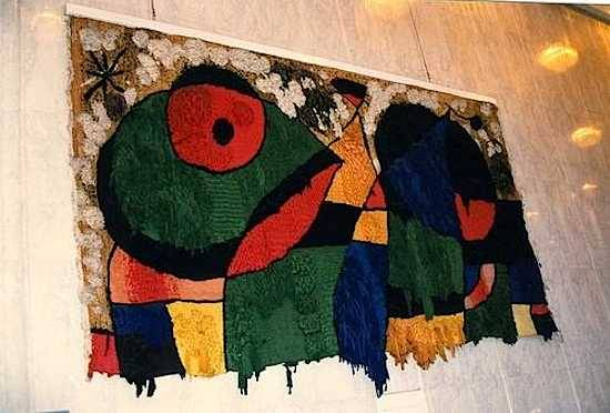 """Joan Miro """"World Trade Center Tapestry"""" / rubble   (The tapestry was commissioned especially for the lobby of 2 World Trade Center in 1974; it was destroyed in the events of Sept. 11, 2001)"""