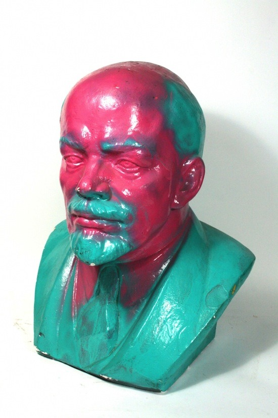 """artist unknown """"Vladimir Lenin"""" / paint   (Originally produced in 1965, this Lenin bust was identical to many others installed throughout Russia: plaster-cast, painted dark to resemble a bronze patina, and displayed in public places across the East Bloc. In 1989, during the Monday Demonstrations (a series of peaceful political protests against the government which ultimately lead to the breakdown of the communist regime), this particular bust was defaced by protesters.)"""