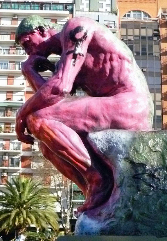 """cast of Auguste Rodin's """"The Thinker"""" (Buenos Aires) / spray paint"""