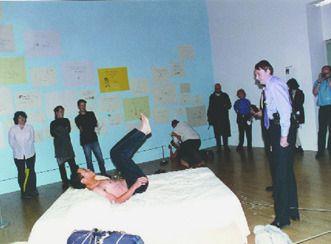 "Tracy Emin ""My Bed"" / human bodies   (In an effort to improve the work and make it less ""institutionalized,"" Chinese performance artists Cai Yuan and Jian Jun Xi disrobed and jumped onto the bed while it was on view at the Tate Modern in London. They called their action,  Two Naked Men Jump Into Tracey's Bed .)"