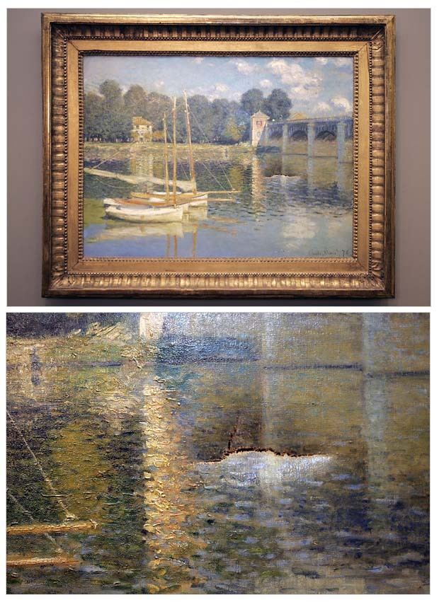"""Claude Monet """"La Pont d'Argenteuil"""" / drunken fist   (In 2007, one of a group of """"drunken intruders"""" punched a hole in this work while it was on view at the Orsay Museum in Paris. The break-in occurred as the city held its annual """"all-night festival,"""" which brings thousands of people into the streets for music, sidewalk exhibits, and other activities. The intruders broke into the museum in the early hours of the morning and left when, upon inflicting the damage, alarms began to sound. At a later press conference, French Culture Minister Christine Albanel openly wondered how the intruders were able to enter the museum so easily, through what she said must have been a """"fragile"""" door. She also wondered how they were able to force their way out through a different door – one that was supposed to be held firmly shut by bolts. While no arrests were made, the work was able to be restored.)"""