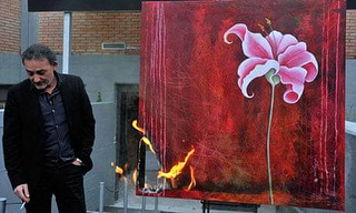"In 2012, Antonio Manfredi, Director of The Casoria Contemporary Art Museum, burned Séverine Bourguignon's painting ""Promenade"" as an act of protest against budget cuts to Italy's cultural institutions. ""Our 1,000 artworks are headed for destruction anyway because of the indifference of the government,"" said Manfredi, who vowed to burn three artworks from the museum's collection each week in an initiative he dubbed ""Art War."" Bourguignon had given her approval ahead of time, and witnessed the incident via Skype. ""The survival of the museum is such an important cause that it justifies the despicable, and painful, act of destroying a work of art,"" she said. ""My work burned slowly, with a sinister crackle. It cost me a lot, but I have no other means of protesting against the loss of this institution."" #artdamaged"