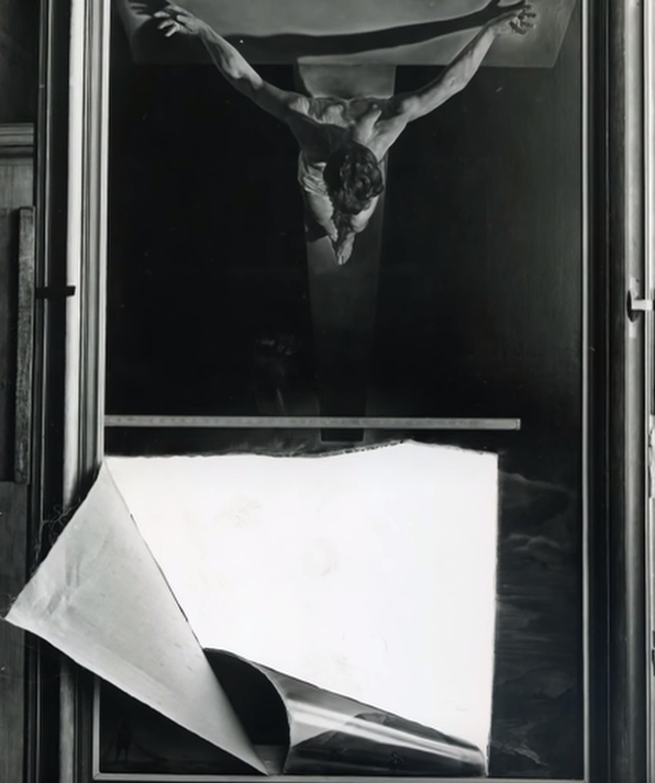 "In April 1961, a mentally disturbed 22-year-old man entered a museum in Glasgow, withdrew a stone from his jacket, and attacked Salvador Dali's ""Christ of Saint John of The Cross"" (1951). Slashing at the canvas horizontally and vertically, he loosened a flap at the bottom of the canvas, and then pulled that flap down with his hands, causing a tear of around eight feet.  While the man was arrested on-site, the painting was eventually restored with meticulous re-sewing and an application of wax lining. It remains today on public view, though it still bears scars from the incident. #artdamaged"