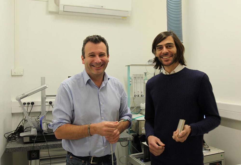 Prof. Mickael Tanter and I on his lab at Langevin Institue, Paris
