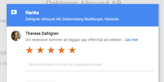 Dahlgren Allround recension på Google