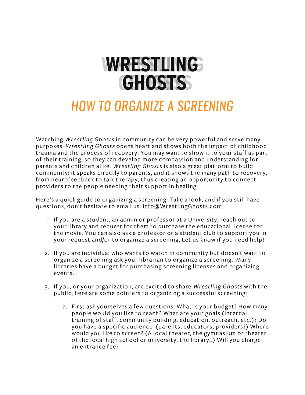 Wrestling Ghosts How To Organize a Screening  (366KB PDF)