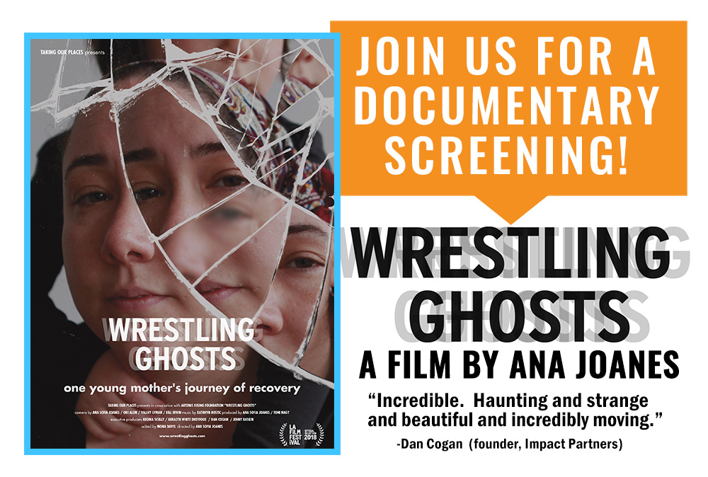 "Wrestling Ghosts  Screening Postcard Front (6.127"" X 4.127"") (Ready to Print once event details are added)"