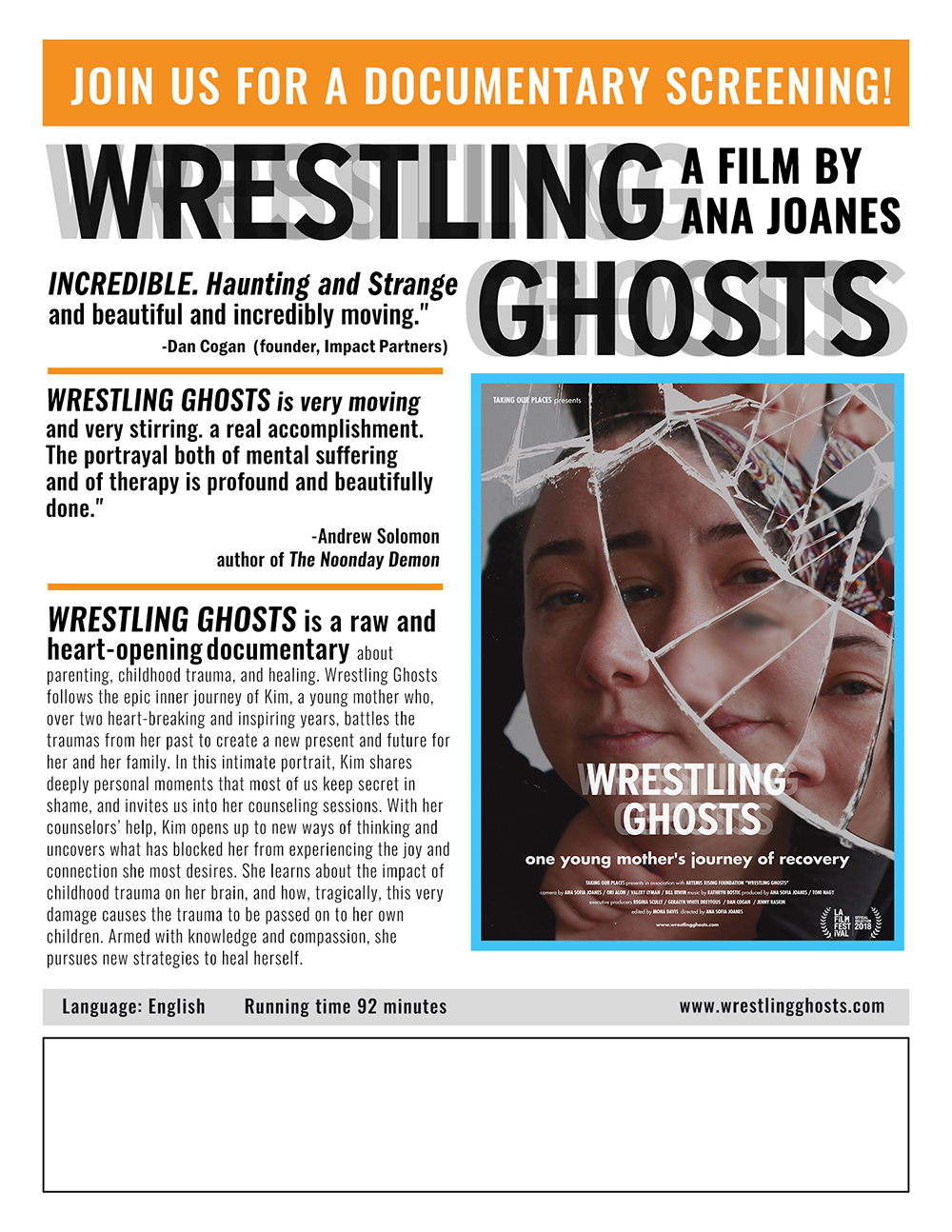 "Wrestling Ghosts  Screening Flyer (8.5"" X 11"")   (Ready to Print once event details are added)"