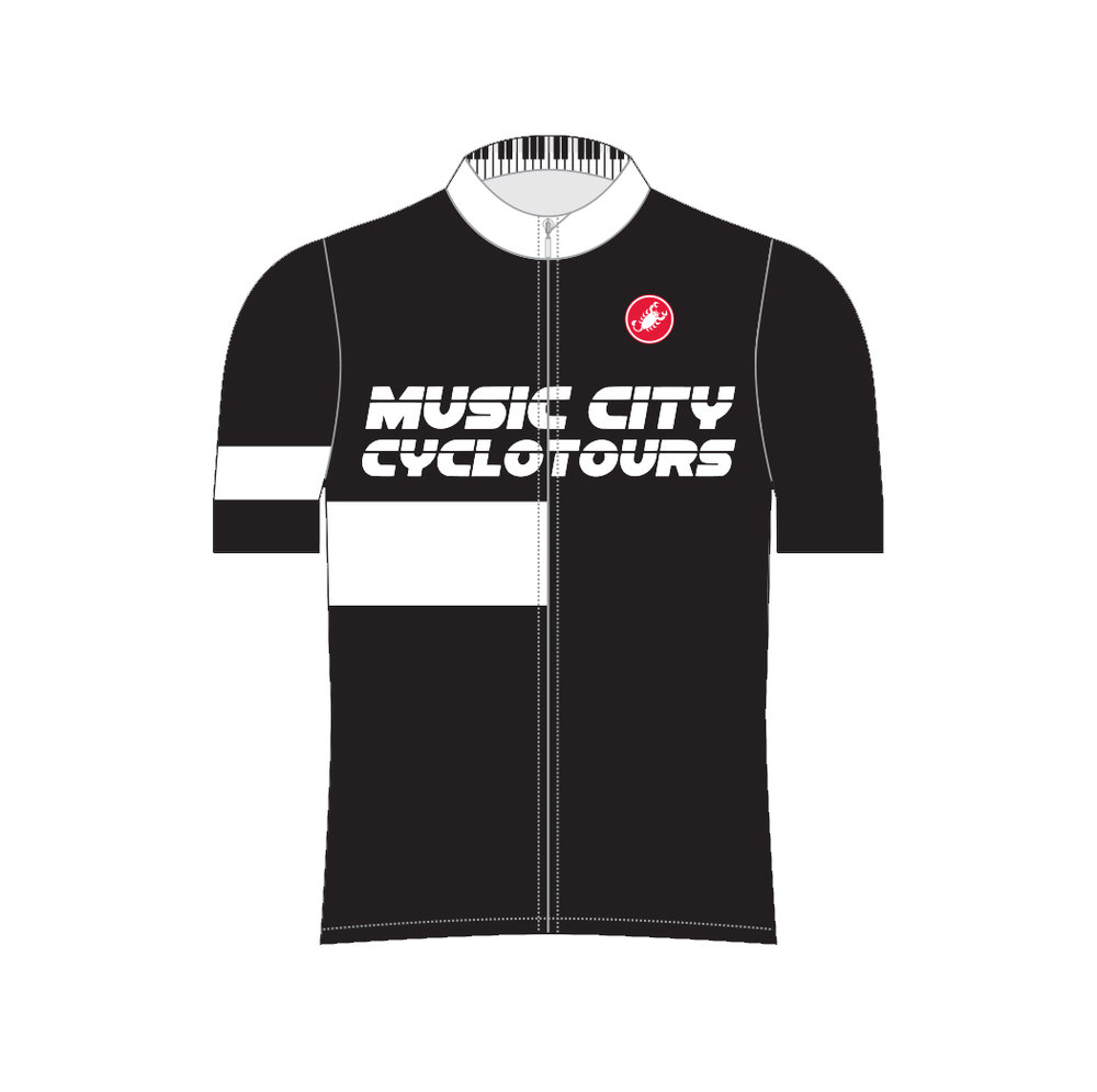 Music City Cycling Kit - Would you like to ride, but didn't bring any of your gear?  Your problem is solved with our MUSIC CITY CYCLING KIT.The kit includes:(for you to keep)Our custom Castelli CORE Cycling JerseyCastelli Team Bib Shorts(to use for the duration of your bicycle rental)Lazer Road HelmetGiro Cycling Shoes