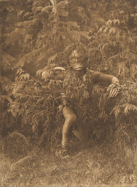 Paqusilahl emerging from the woods. From  The North American Indian  (1915).