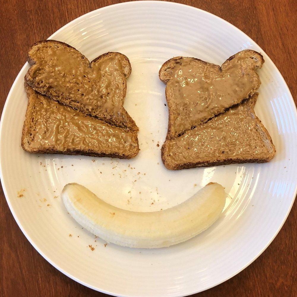 Peanut Butter Toast & Banana   Calories: 383 kcal  Fat: 11g  Carbs: 62g  Fibre: 8g  Protein: 12g