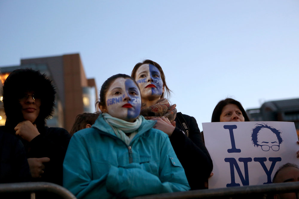Bernie spoke to a massive crowd in Washington Square Park, where Obama had held a similar campaign event in 2008.