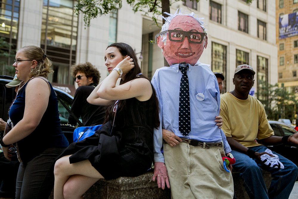 Protestors outside the Ritz Carlton hotel in downtown Philadelphia.