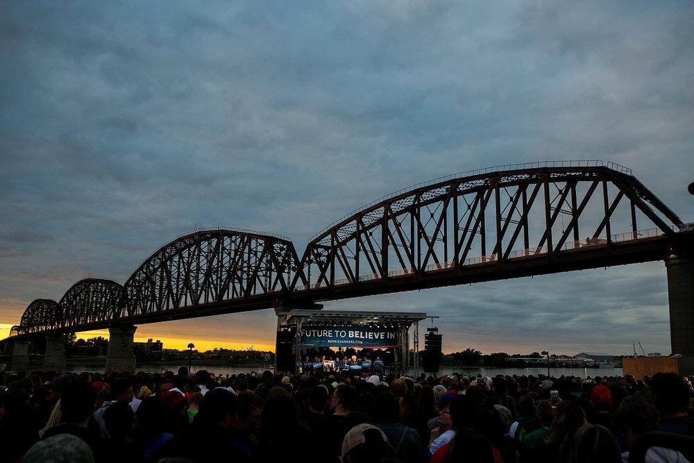 Bernie speaks in Louisville, Kentucky, beneath the Big Four Bridge.