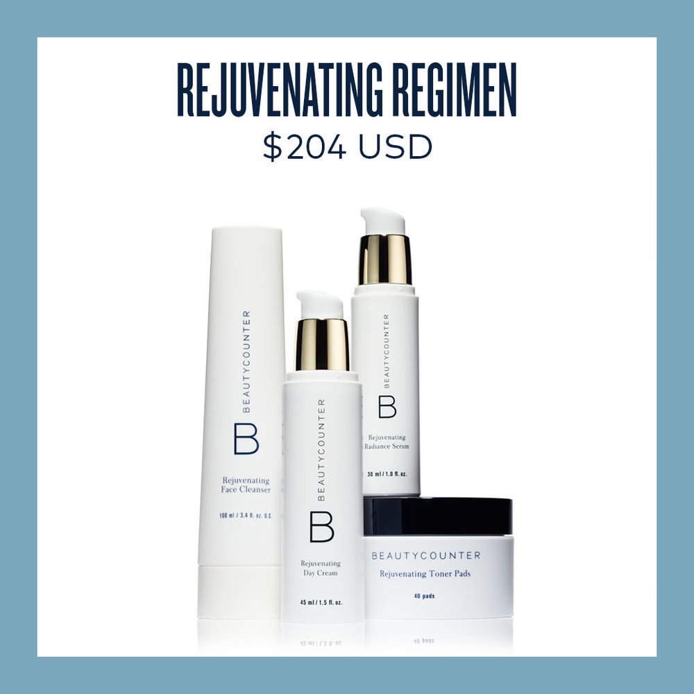 Rejuvenating Collection - Many scientists agree skin care and moisturizers are among the first things to begin switching over once moving towards safer products. 65% of the ingredients are absorbed directly into our bloodstream.This is set is my personal favorite and comes with a Cleanser, Toner Pads, Serum, and Day Cream.Plus, purchase this set and receive a free product of choice from a Charcoal mask, Overnight Peel, or Cleansing balm.