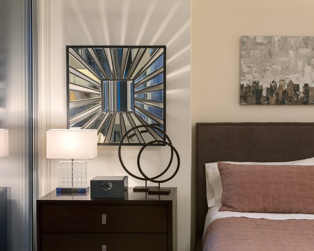Refresh Decorating - Condo Master Bedroom Mirror Light Rays.jpg