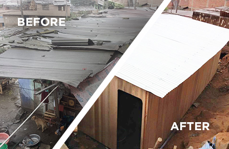 Pre-Fabricated Home Construction : A home like this with a concrete floor can be constructed by a well-organized volunteer team and a building manager in a single day. (See below for a step-by-step process)