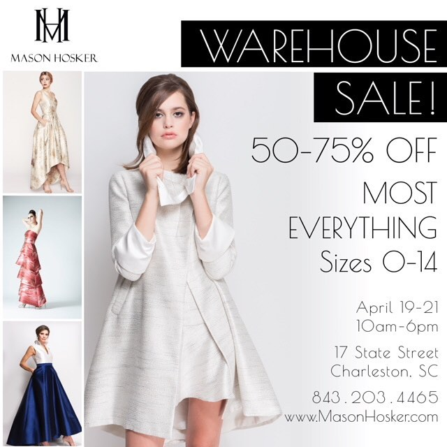 Mark your calendars! Come shop the Annual Warehouse Sale this Thursday-Saturday in Charleston! 50-75% off Cocktail, Evening, MOB, Little White Dresses, Bridal and Party Dresses (Mias, too!). Sizes 0-14. 17 State Street. 10am-6pm. 🎊 Not to be missed!