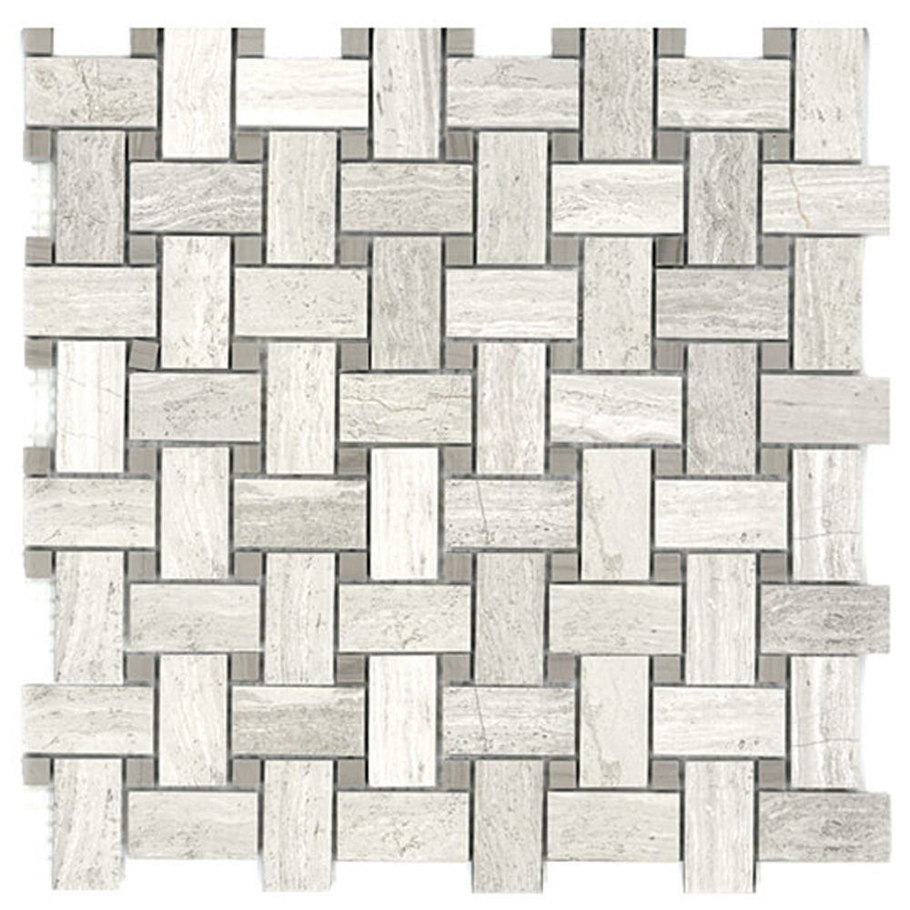 Bianco Wood Basketweave with Athena Gris Dots