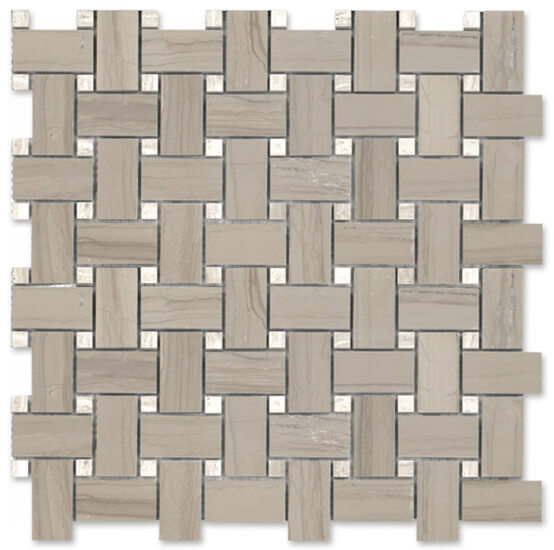Athena Gris Basketweave w/Bianco Wood Dots |  In Stock   GM.ATH.GR/BWD.DOT.BW