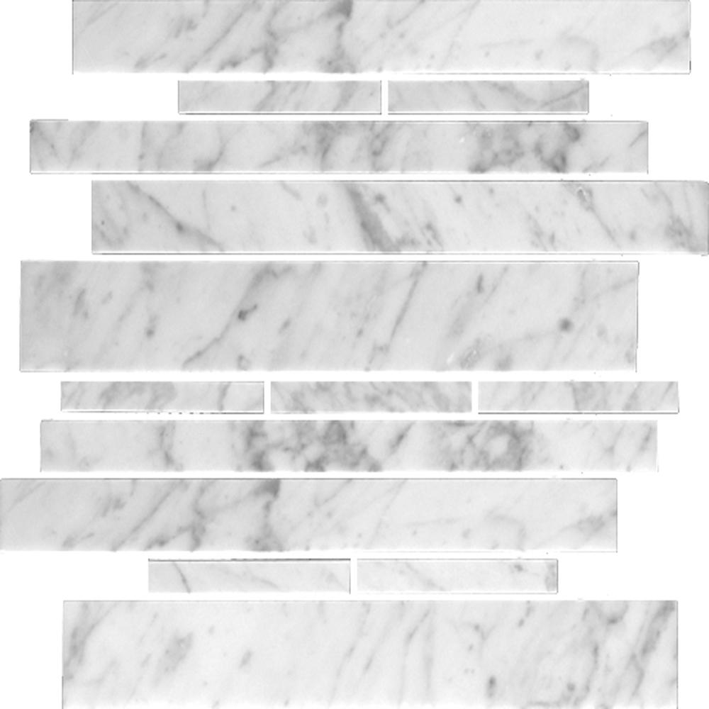 Polished Carrara Irregular Linear Mosaic