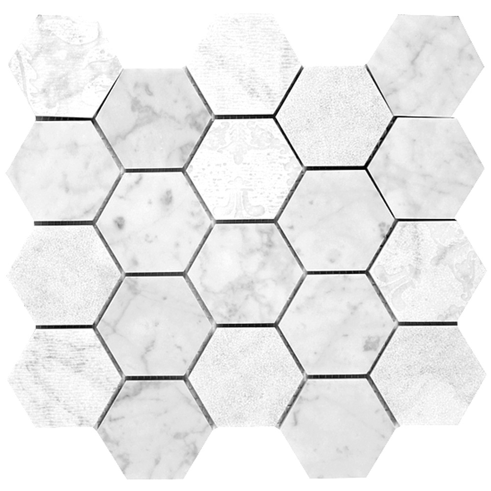 Multi Textured Hexagon Mosaic  Textured | GM.B.CARRAR.HEX.TXT