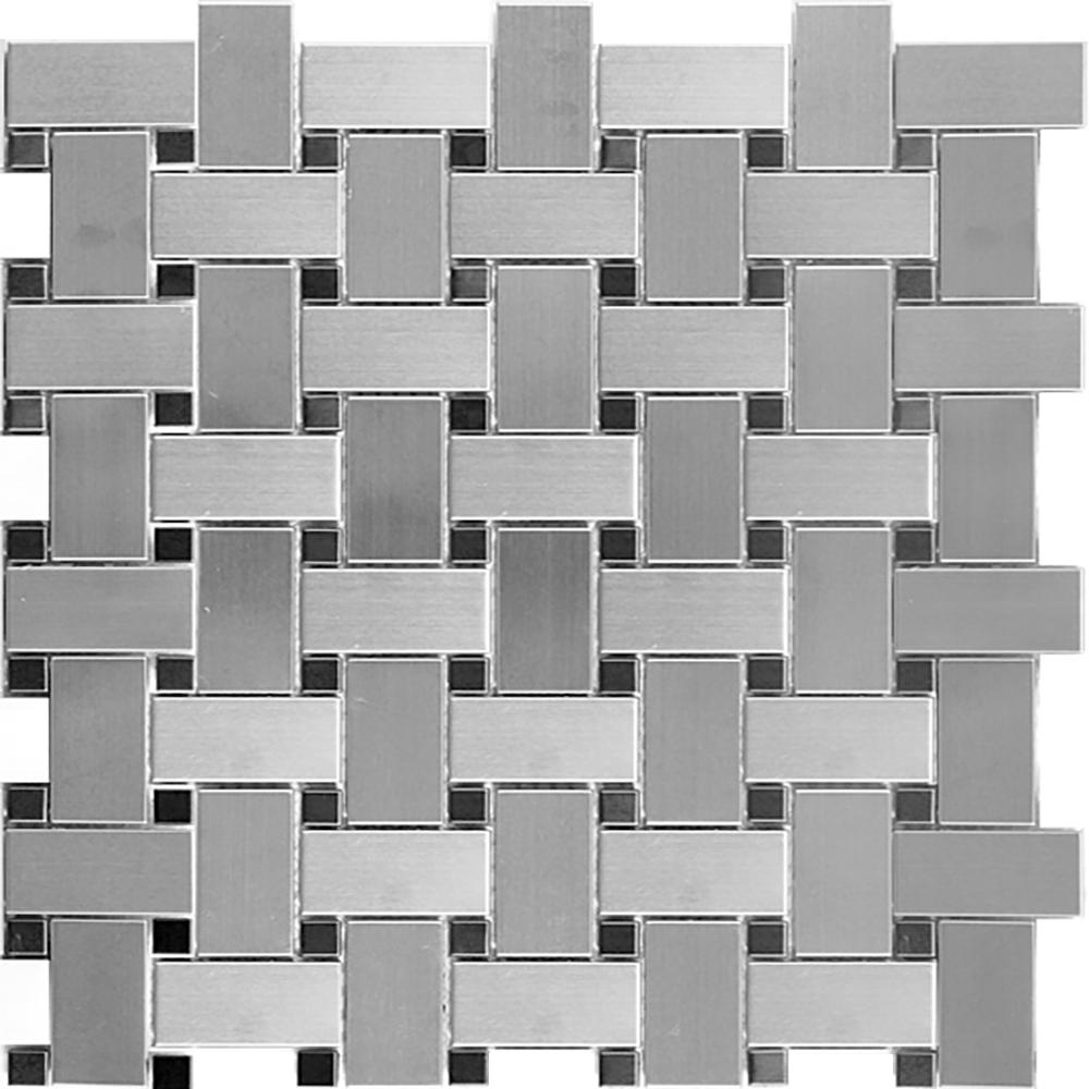Silver & Black Basketweave  Brushed | RJ.MT.SIL/BLK.IRR