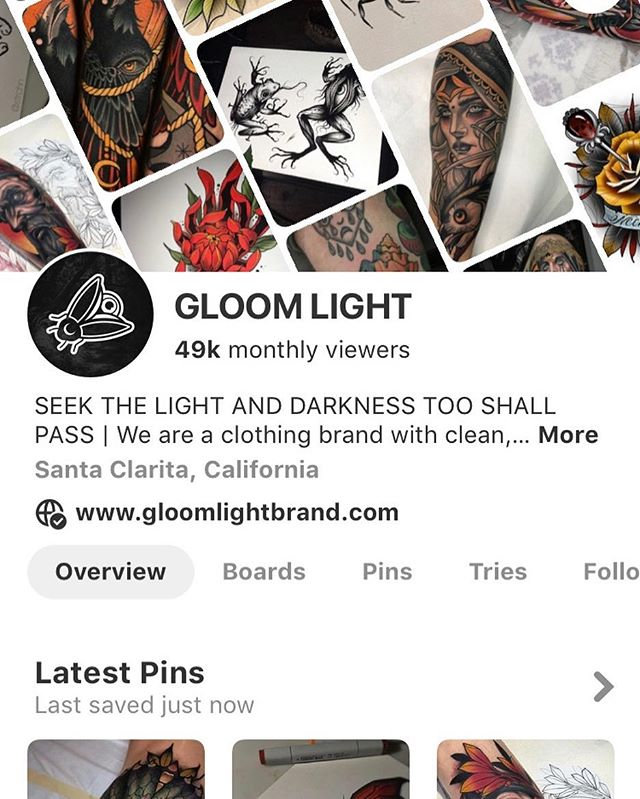 Did you know we have a Pinterest? You can find us by searching gloomlightbrand. We are pinning tattoos, illustrations and artwork that inspires us daily!!! All pins link directly back to the artists Instagram. So, if you see something that inspires you, be sure to follow them 🤘🏻Would you guys like us to share the work we come across more often on Instagram?