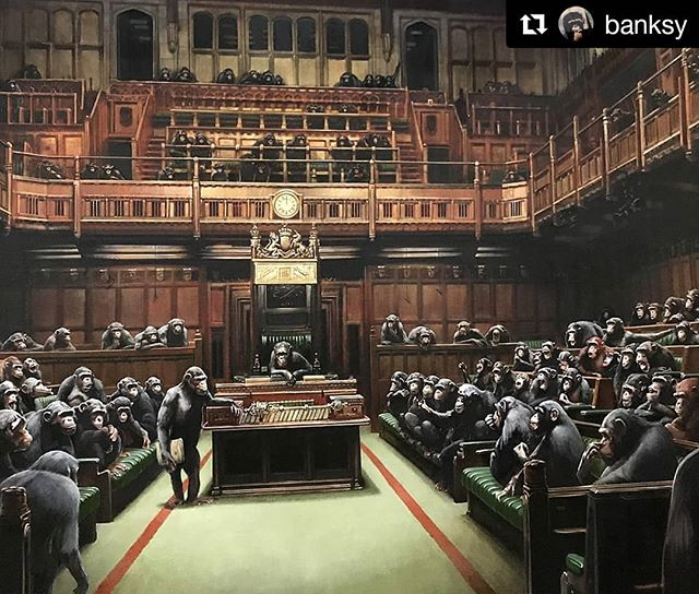 "#Repost @banksy (@get_repost) ・・・ . Devolved Parliament  I made this ten years ago. Bristol museum have just put it back on display to mark Brexit day. ""Laugh now, but one day no-one will be in charge."""