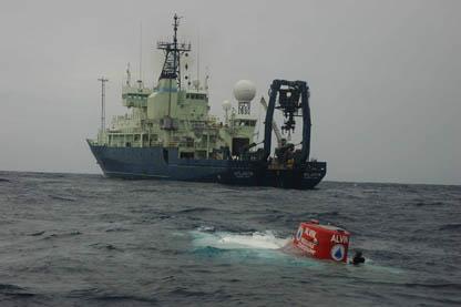 DSV ALVIN in front of the R/V Atlantis (courtesy WHOI)