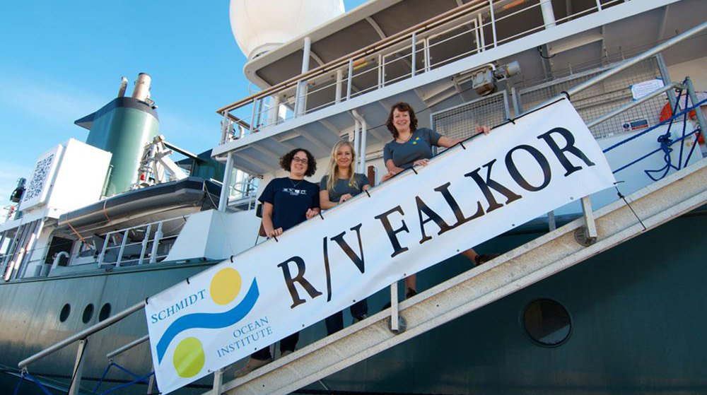 University of Georgia Post Doc Sara Kleindienst (middle) and PhD student Maggie Esch (left) are part of the twelve-person science team on the first leg of the cruise. Here they are pictured with Beth Orcutt (right), a senior research scientist at Bigelow Laboratory for Ocean Sciences. (Image by Debbie Nail Meyer, Schmidt Ocean Institute)