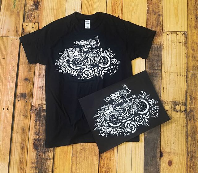 Original artwork by Toni Wolf. The painting next to the screen printed t-shirt. We LOVE turning artists work into wearable apparel! Check out Toni's work and buy her shirts at @greenwolfsvillagebarn and @skippackdrums
