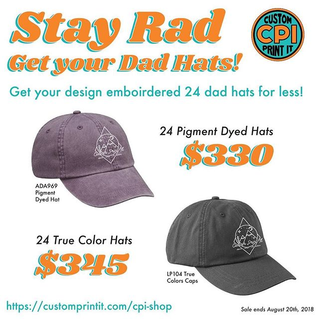 From now until August 20th, check out our awesome sale on Dad Hats! 👍🏼🧢 . . . . . #customprintit #embroidery #dadhats #hats