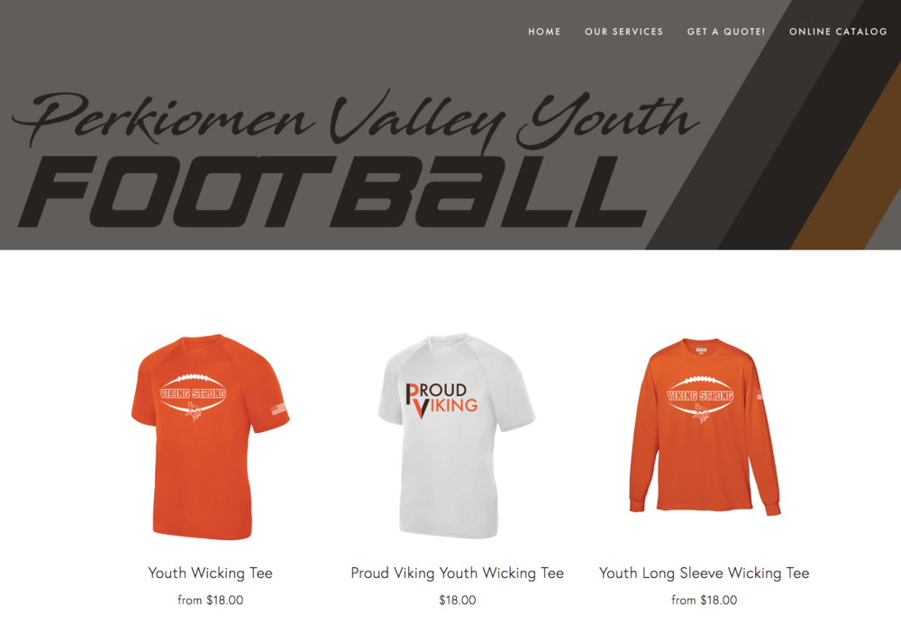 Web Design - We've been able to create effective web stores for clients in the past to make ordering and printing garments easier. Check out the site we made for Perkiomen Valley Youth Football and Cheer!