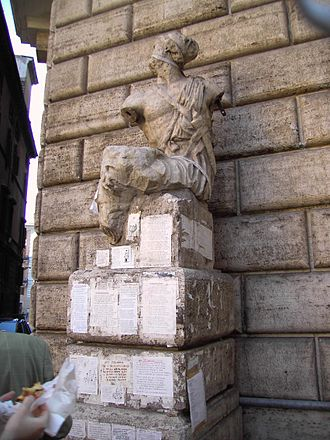 Pasquino; The first talking statue in Rome.